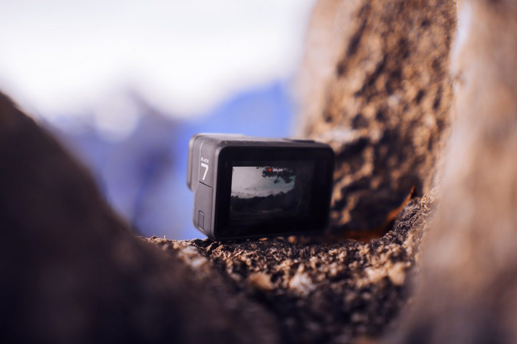 Gopro placed in the hollow of a mountain making film