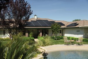 Large house with solar panels