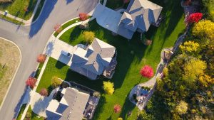 view from the sky of a subdivision, house