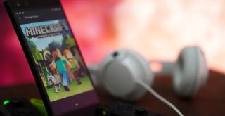 mincraft video games on cell phone, with headset